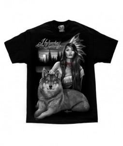Camiseta de armonía - indígena de américa con lobo
