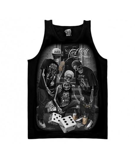 Camiseta de tirantes para hombre de esqueletos jugando a los dados