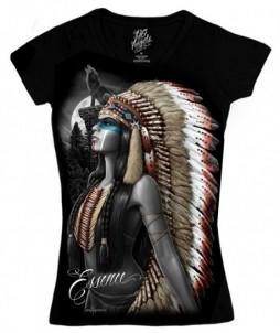 Camiseta de manga corta para mujer con cuello en v nativa américana y un lobo aullando - esencia