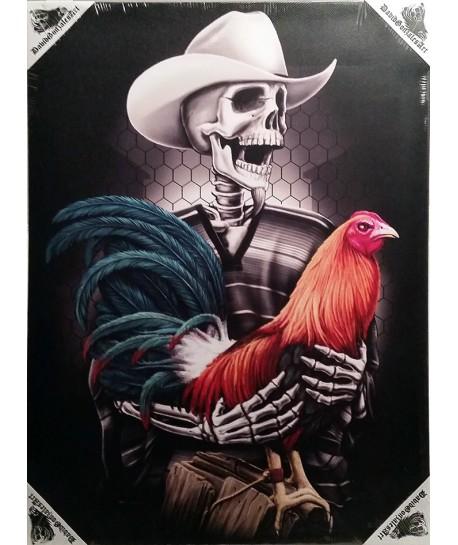 Lienzo con dibujo de avicultor esqueleto con gallina