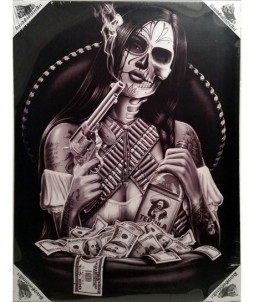 Lienzo con dibujo de bandida mexicana
