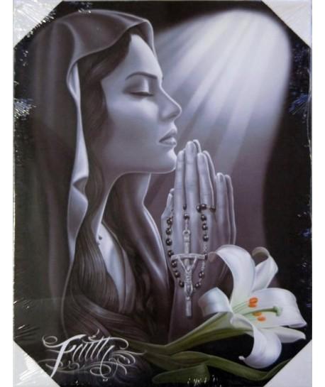 Lienzo con dibujo de mujer devota rezando