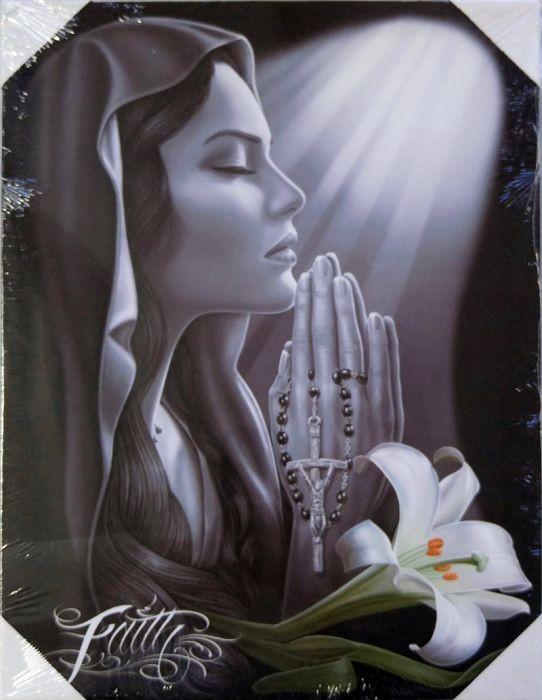Lienzo con dibujo de mujer devota rezando - DGA378 - DGA