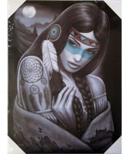 Lienzo con marco de madera con dibujo de una bella india