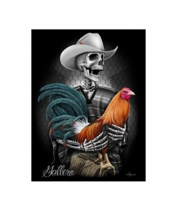 Póster de dibujo de avicultor esqueleto con gallina